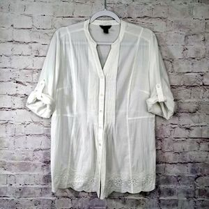 Bit & Bridle White Embroidered Button Up Blouse